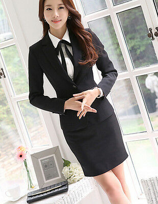 8526508f79b0 ... Elegante Tailleur completo donna nero giacca manica lunga gonna 7140 3