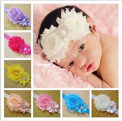 10PCS Girl Newborn Baby Toddler Infant Flower Headband Hair Bow Band Photo Props 3
