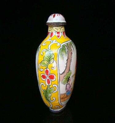 Collection 100% Handmade Painting Brass Cloisonne Snuff Bottles People 021 5