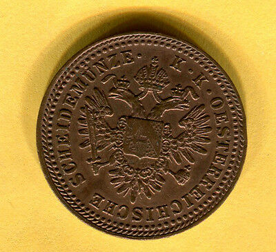 Austria 1 Kreuzer 1851 A Copper World Coin KM2185 Imperial Double Eagle Crown 3