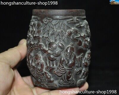 Marked Chinese Dynasty Ox horn Carved Pine tree Old Man Drum shape Box Boxes 4