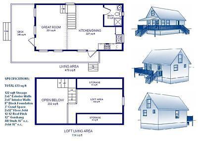 16X30 CABIN W/LOFT Plans Package, Blueprints & Material List