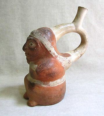 Pre-Columbian MOCHE STIRRUP VESSEL OF A SEATED FIGURE, circa 1 AD - 500 AD 3 • CAD $1,197.00