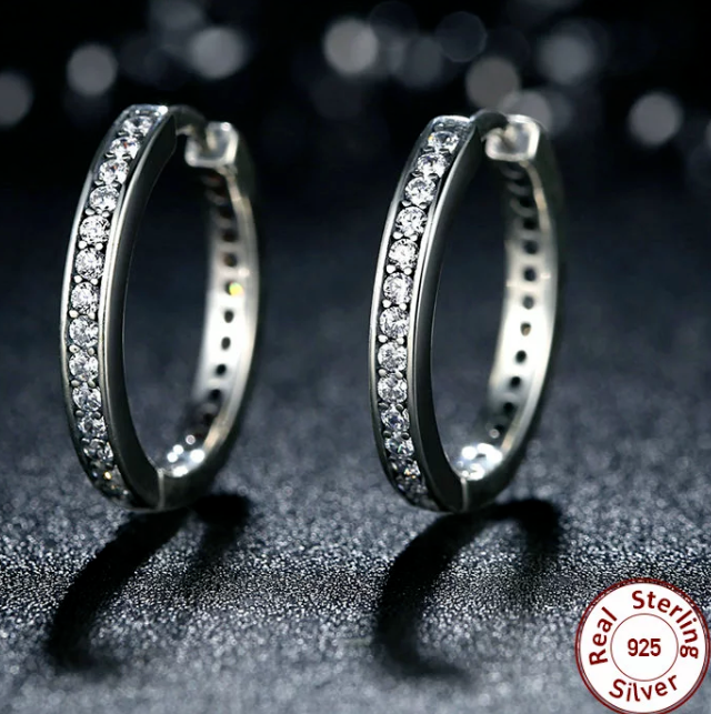 aefaade95 Real 925 Silver Sterling Forever HOOP Sparkling EARRINGS Studs+gift  pouch+box 8 8 of 8 See More