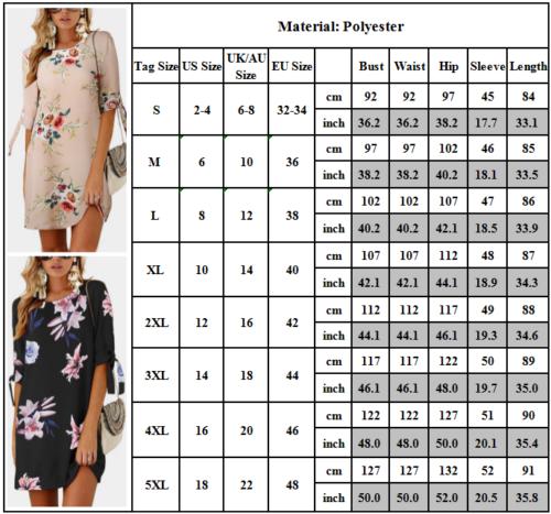 Women Floral Printed Long Tops Blouse Summer Beach Tunic Dress Plus Size 6-22 2