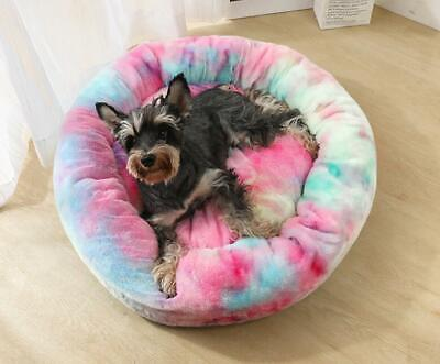 UK Pet Dog Cat Warm Plush kennel Calming Bed Round Nest Comfy Sleeping Cave Hot 2