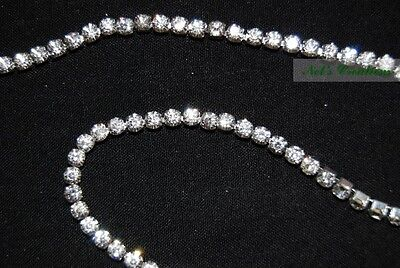 Meter, Silver clear crystal rhinestone encased in silver metal chain trim, 4mm