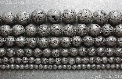 "Natural Black Volcanic Lava Gemstone Round Beads 4mm 6mm 8mm 10mm 12mm 15.5"" 2"