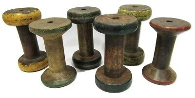 "Lot of 6 Antique Vintage 3"" Painted Wooden Industrial Textile Bobbins Spools 2"