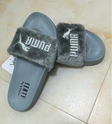 huge selection of ef534 fd8ae NEW PUMA BY Rihanna Leadcat Fenty Faux Fur Slide Sandals Pink Black White  Shell