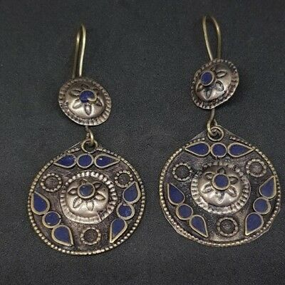 Old Beautiful silver plated lapis lazuli Earrings From Afghanistan 2