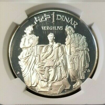 1969 Tunisia S1D Ancient Roman Poet Virgil Ngc Pf 69 Ultra Cameo Top Pop !!! 3