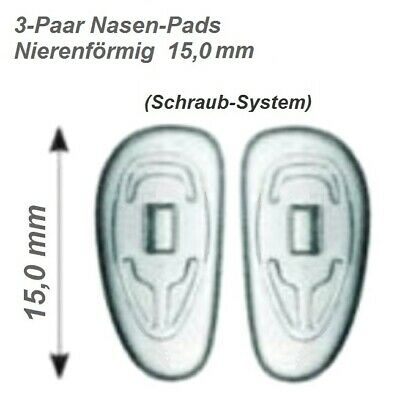 Nasenpads für Brillen Nierenförmig Schraub-System 15 mm zum selber Austauschen 2