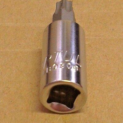 """Ex-MOD Toptul T30 Torx Star Bit Socket 1//4/"""" Drive FTAB0808 Marked with // \ /& NSN"""