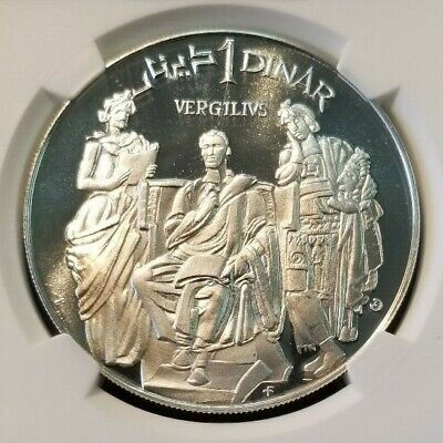 1969 Tunisia S1D Ancient Roman Poet Virgil Ngc Pf 69 Ultra Cameo Top Pop Beauty 3