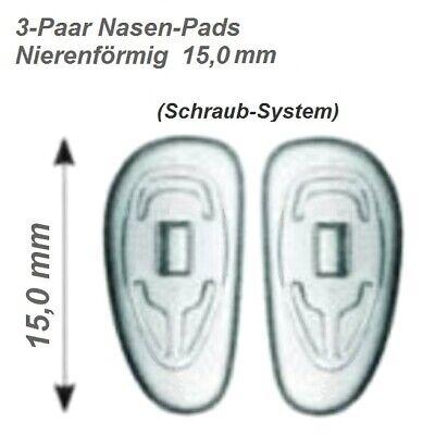 Nasenpads für Brillen Nierenförmig Schraub-System 15 mm zum selber Austauschen 10