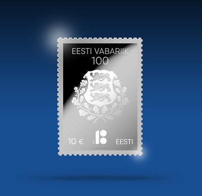 NEW Estonia 2018 Rare SILVER STAMP Nominal 10 Euro 100 Years Estonian Republic 2