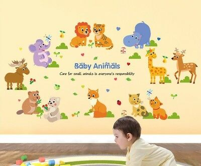 WANDTATTOO KINDERZIMMER JUNGE Mädchen Löwe Katze Elch Tiere Baby Bambi  Elefant