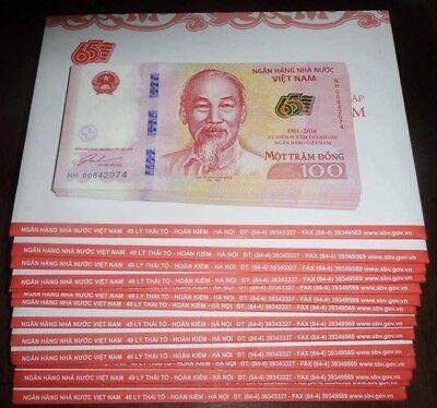 Vietnam 100 Dong 2016 Commemorative 65 Year National Bank Unc + Folder 2
