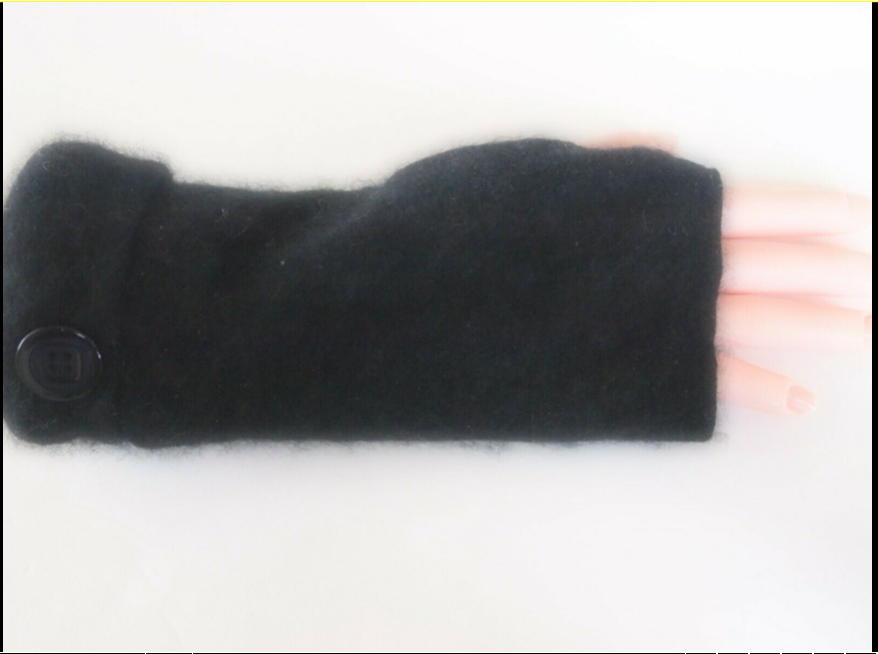 Fingerless Gloves Black 100% Cashmere Women's  Size Small S Texting Goth 3