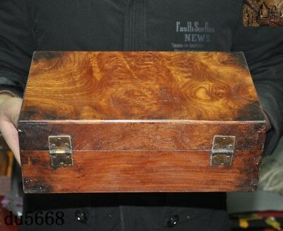 "12""Chinese dynasty Haunghuali Wood Hand carved Ancient Storage jewelry Box Boxes 6"