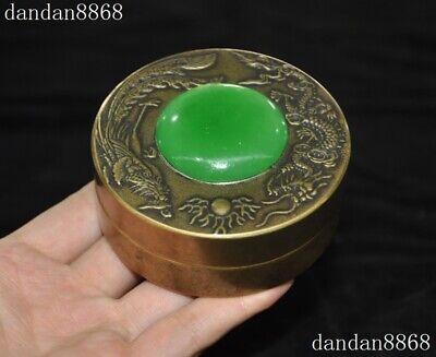 Old Chinese Dynasty Palace bronze inlay green Jade Gem Dragon Phoenix box boxes 3