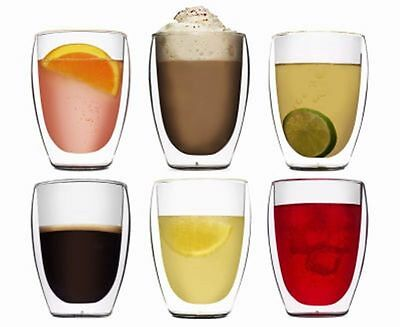 BODUM Pavina Double Wall Thermo Glasses Coffee Tea Cups 350ml 12oz set of 6 NEW