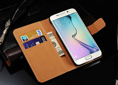 Genuine Leather Flip Wallet Case Cover For Samsung Galaxy S7 S8 S9 S10+ Note 8 9 7