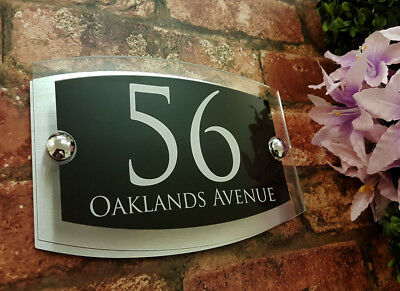 Contemporary House Signs Plaques Door Numbers 1 - 999 Personalised Name Plate 8