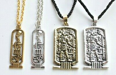 Cartouche Ancient Egyptian Pendant Necklace Ankh Egypt Anubis God Wicca Jewelry 3