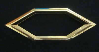 """1 vintage 60s retro polished shiny solid brass drawer pull handle holes=3-3/4""""CC"""