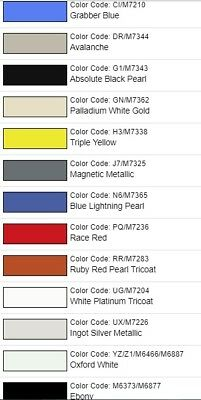 ford mustang color code location