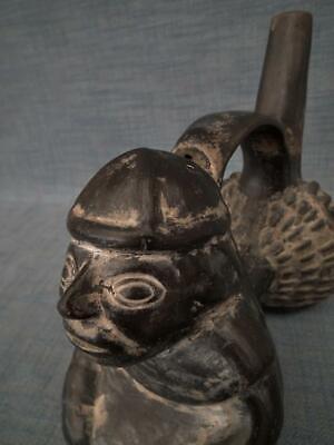 Antique Pre Columbian Chimu Inca Blackware Figural Whistling Vessel Whistle 7