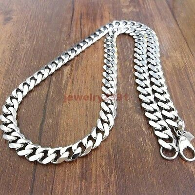 "Top 316L Stainless Steel Heavy Link Silver Curb Cuban Chain Men Necklace 8""-40"" 10"