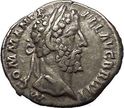 COMMODUS Son of Marcus Aurelius Silver Ancient Roman Coin Minerva Athena i52311 2