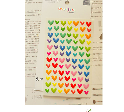 Heart 3d Stickers Rainbow Color Love Scrapbook Diary Cardmaking Diy