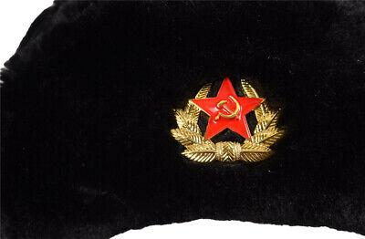 Russian Trapper Hat black With Soviet Badge Faux Fur Ushanka Cossack Flap Cap AU 12
