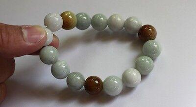 Gemstone Genuine Natural Jade (Grade A) Multi-Color Jadeite Beads Bracelet 13mm 2