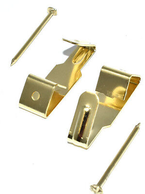 PICTURE HOOKS BRASS PLATED AND HARD PINS No.0 FRAMING HANGING HANGER WALL HOOK 3