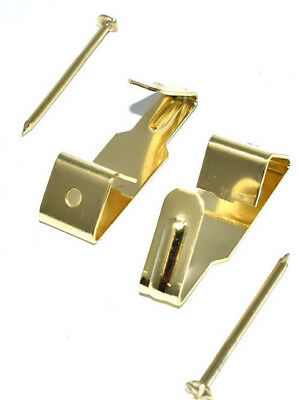 PICTURE HOOKS BRASS PLATED AND HARD PINS No.1 FRAMING HANGING HANGER WALL HOOK 3