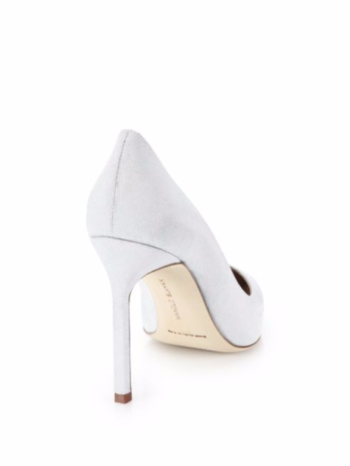f8d2f9ac802 MANOLO BLAHNIK BB 105 Mm Notturno White Sparkly Pumps 39.5 Wedding I Love  Shoes