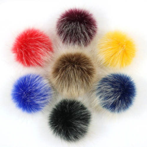 Women Large Faux Raccoon Fur Pom Pom Ball With Press Button For Knitting Hat DIY 6