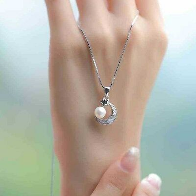 Sterling silver Moon Star Freshwater Pearl micro-pave Pendant Necklace Gift Box
