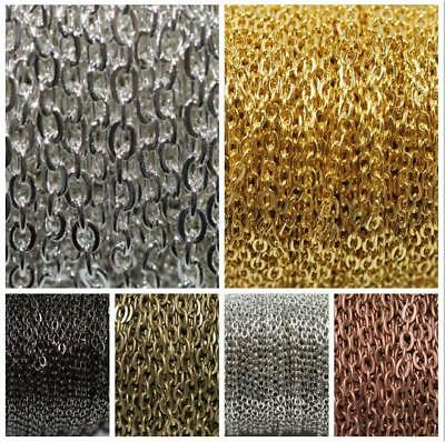 100M Cable Open Link Iron Metal Chain For Jewelry Making DIY 3x4mm 6 Colors Lot 6
