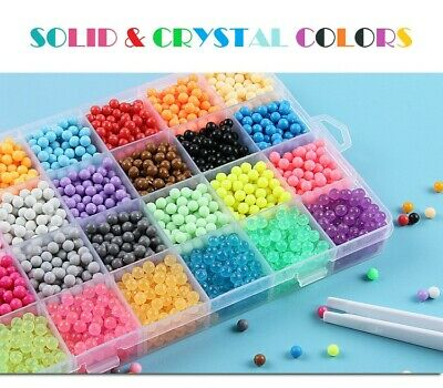 NEW 3000-5000 SUPER REFILL Aquabeads Water Fuse Beads 24 SEPARATE Color Packing 2