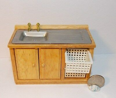 D2678A MINIATURE DOLLHOUSE 1:12 SCALE WET SINK W//OAK CABINET FINISH