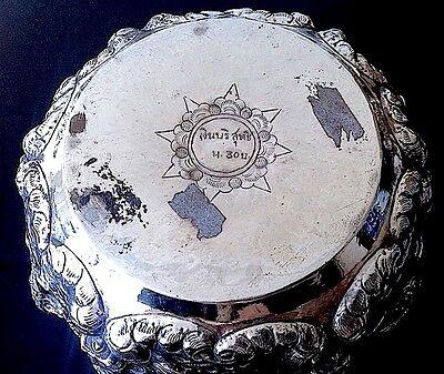Superb Fine Antique Silver Metal Burmese Bowl With Embossed Figural Decoration 6