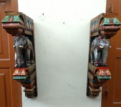 Elephant Wall Corbel Pair Handcarved Wooden Bracket Sculpture Estate Home Decor 7