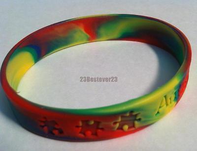 b55684b75dd7 100 AUTISM AWARENESS Multi Colored Puzzle Piece Silicone ADLT Bracelet  Wristband