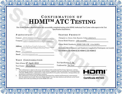 HDMI HIGH SPEED CABLE PREMIUM 1.4 Mesh Wire BLURAY 3D DVD HDTV Gold Plated - LOT 8